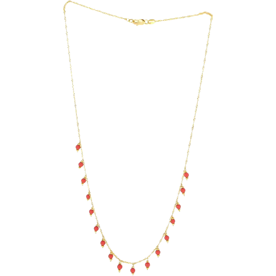Vintage 18 Karat Yellow Gold Faux Coral Fringe Necklace Fine Estate Jewelry
