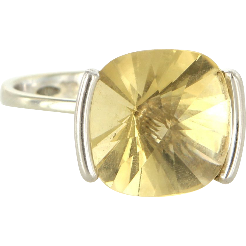 Estate 18 Karat White Gold Fantasy Cut Citrine Cocktail Ring Fine Jewelry