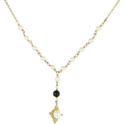 Vintage 14 Karat Yellow Gold Cultured Pearl Onyx Drop Necklace Fine Jewelry
