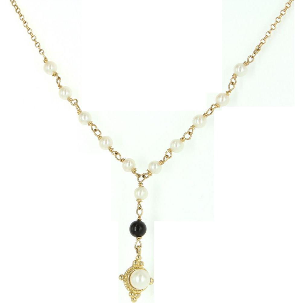 Vintage 14 karat yellow gold cultured pearl onyx drop for 14 karats fine jewelry