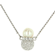Estate 18 Karat White Gold Diamond Cultured Akoya Pearl Cocktail Necklace