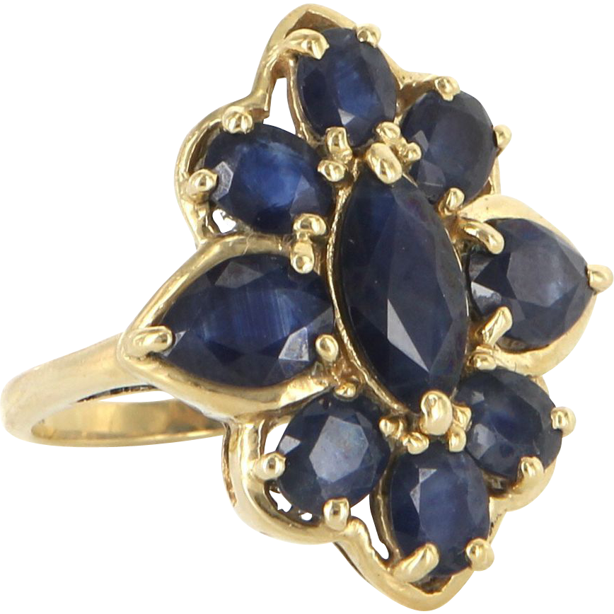 Estate 14 Karat Yellow Gold Sapphire Cocktail Ring Fine Jewelry Pre-Owned