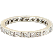 Vintage 14 Karat White Gold Diamond Eternity Stack Wedding Band Ring Sz 9 Estate Jewelry