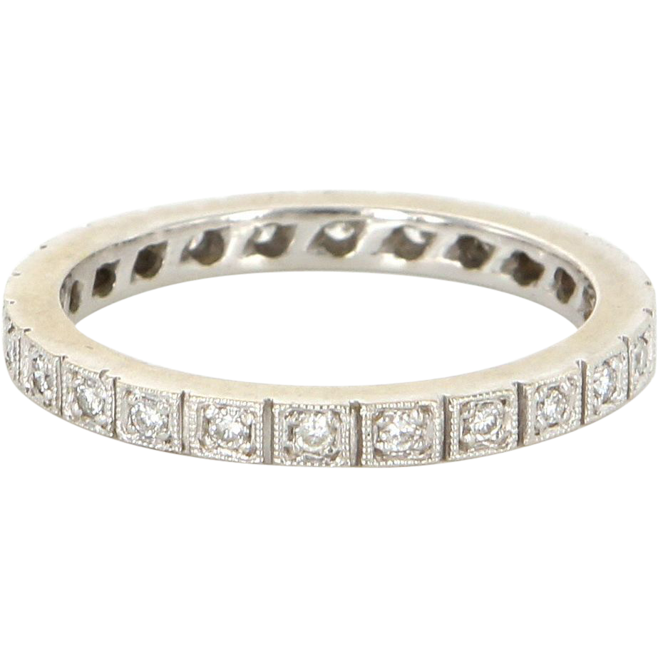 Vintage 14 Karat White Gold Diamond Eternity Stack Wedding Band Ring Sz 9 Estate Jewelry