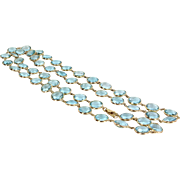 300+ct Blue Topaz Long Necklace Vintage 18 Karat Yellow Gold Estate Fine Jewelry