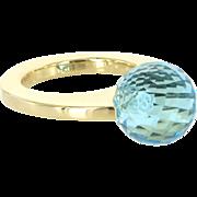 Pianegonda Hydrothermal Blue Quartz 18 Karat Gold Cocktail Ring Estate Fine Jewelry