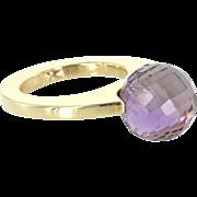 Pianegonda Hydrothermal Quartz 18 Karat Yellow Gold Cocktail Ring Estate Jewelry