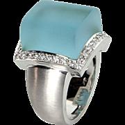 Frosted Blue Topaz Diamond Ring Vintage 18 Karat Gold Estate Jewelry Satin Finish