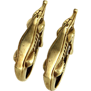 B Kieselstein Cord Alligator Earrings Vintage 18 Karat Yellow Gold Jewelry