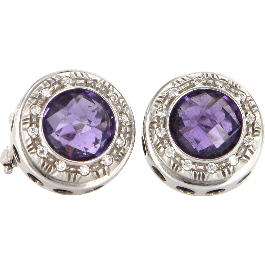Vintage 14 Karat White Gold Amethyst Zircon Round Circle Stud Earrings Estate Jewelry