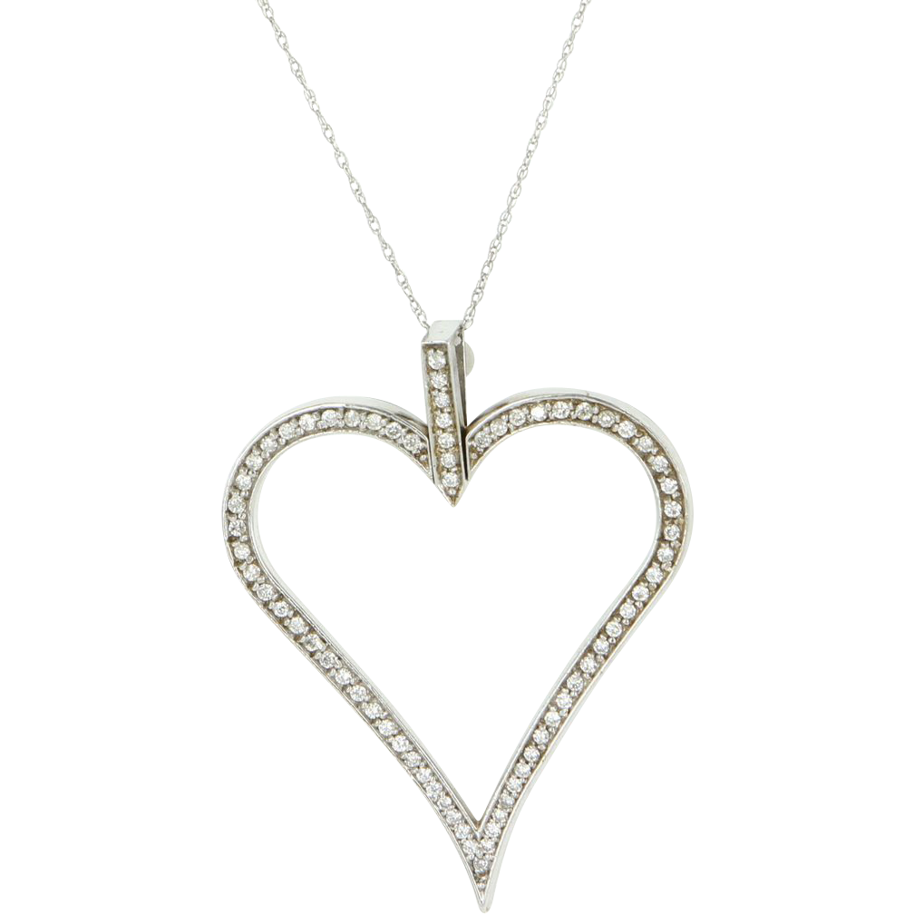 Vintage 14 Karat White Gold Diamond Large Heart Cocktail Pendant Necklace Estate Jewelry