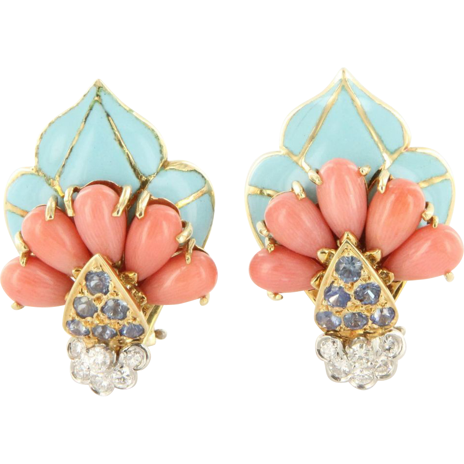 Vintage 18 Karat Yellow Gold Diamond Coral Sapphire Enamel Cocktail Earrings