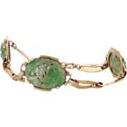 Vintage 14 Karat Yellow Gold Carved Jade Flower Cocktail Bracelet Fine Jewelry