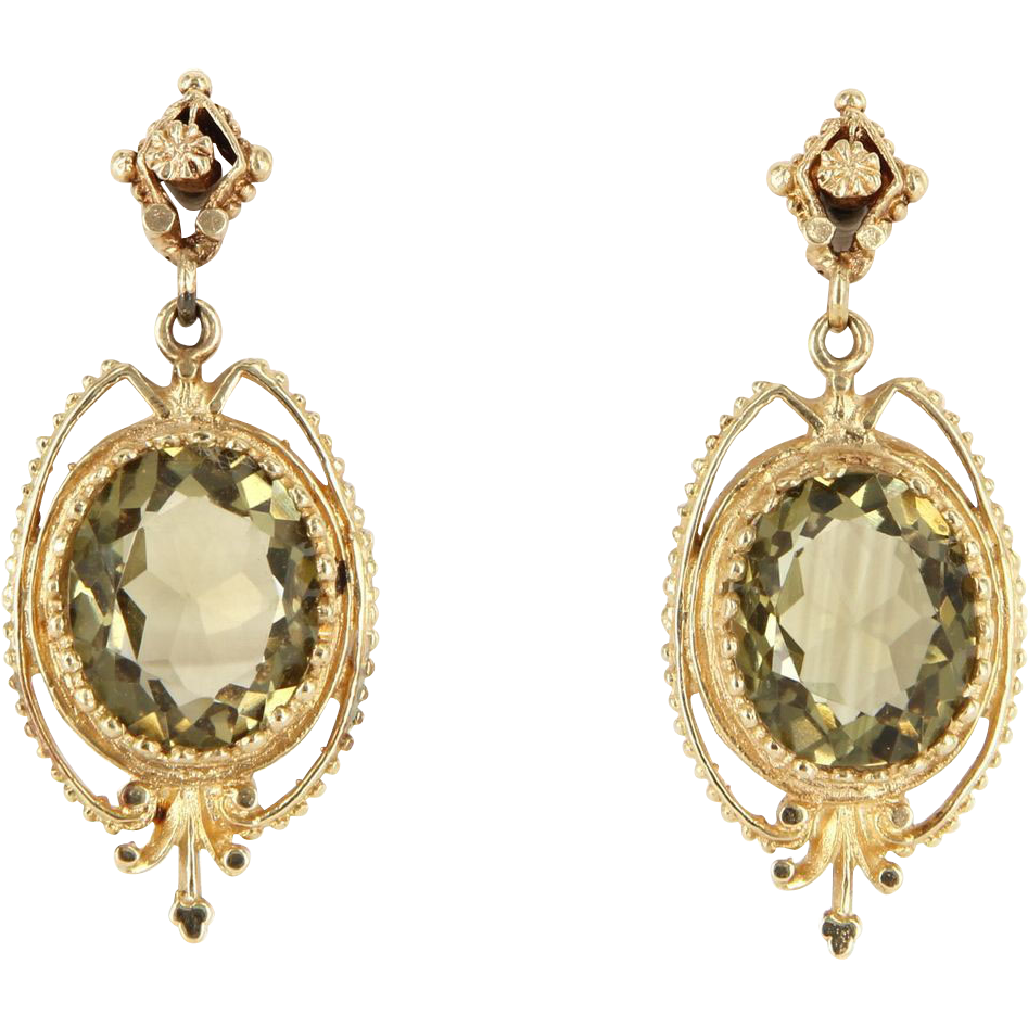 Vintage 14 karat yellow gold citrine dangle drop earrings for 14 karats fine jewelry