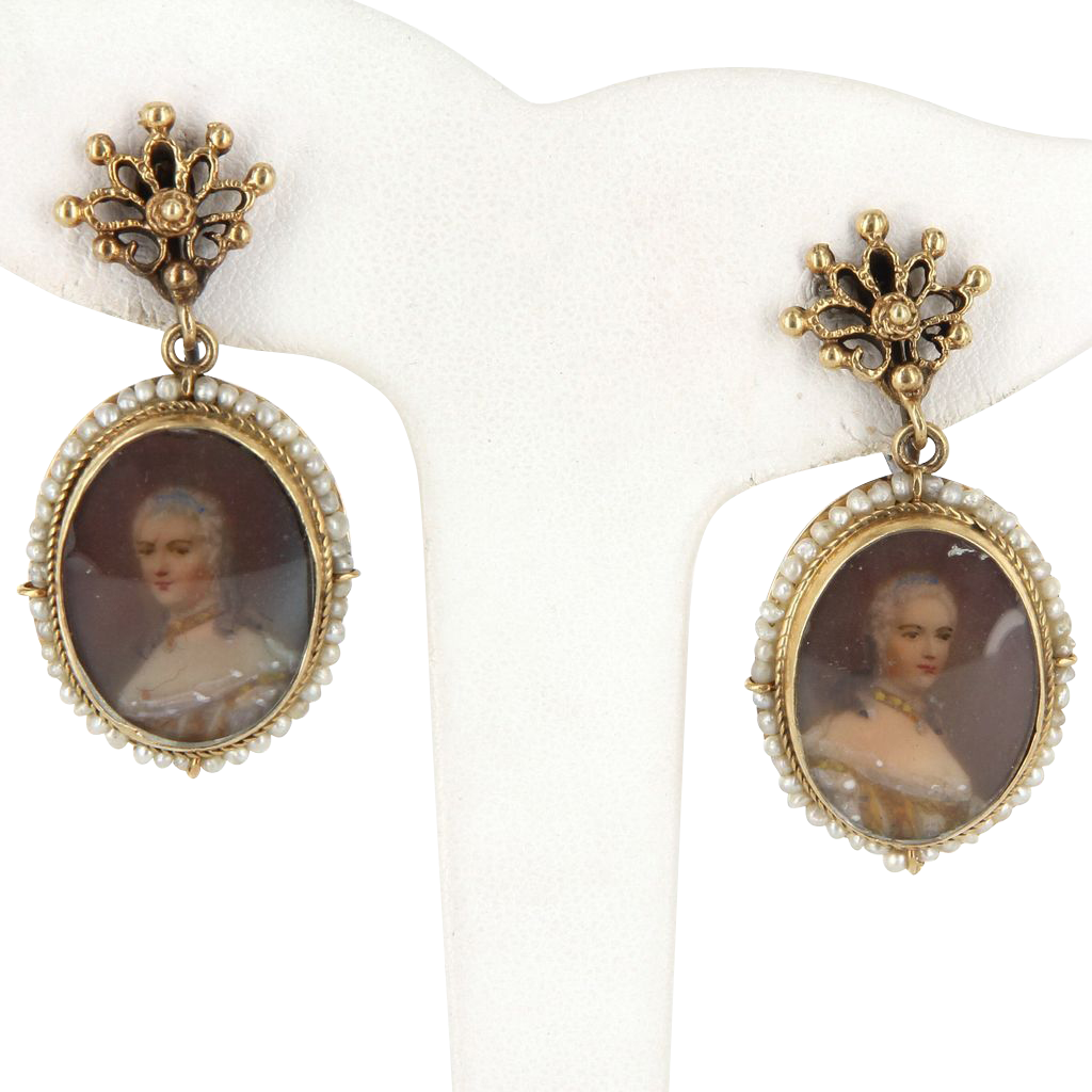 Vintage 14 Karat Yellow Gold Seed Pearl Portrait Of Woman Drop Earrings Estate Jewelry