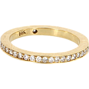 Vintage 14 Karat Yellow Gold Diamond Eternity Stack Band Ring Estate Sz 4.75