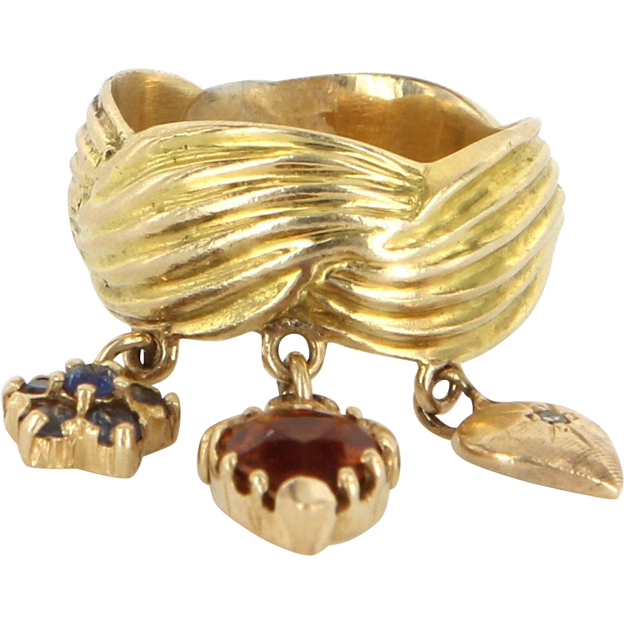 Vintage 14 Karat Yellow Gold Citrine Blue Topaz Diamond Charm Ring Band Estate