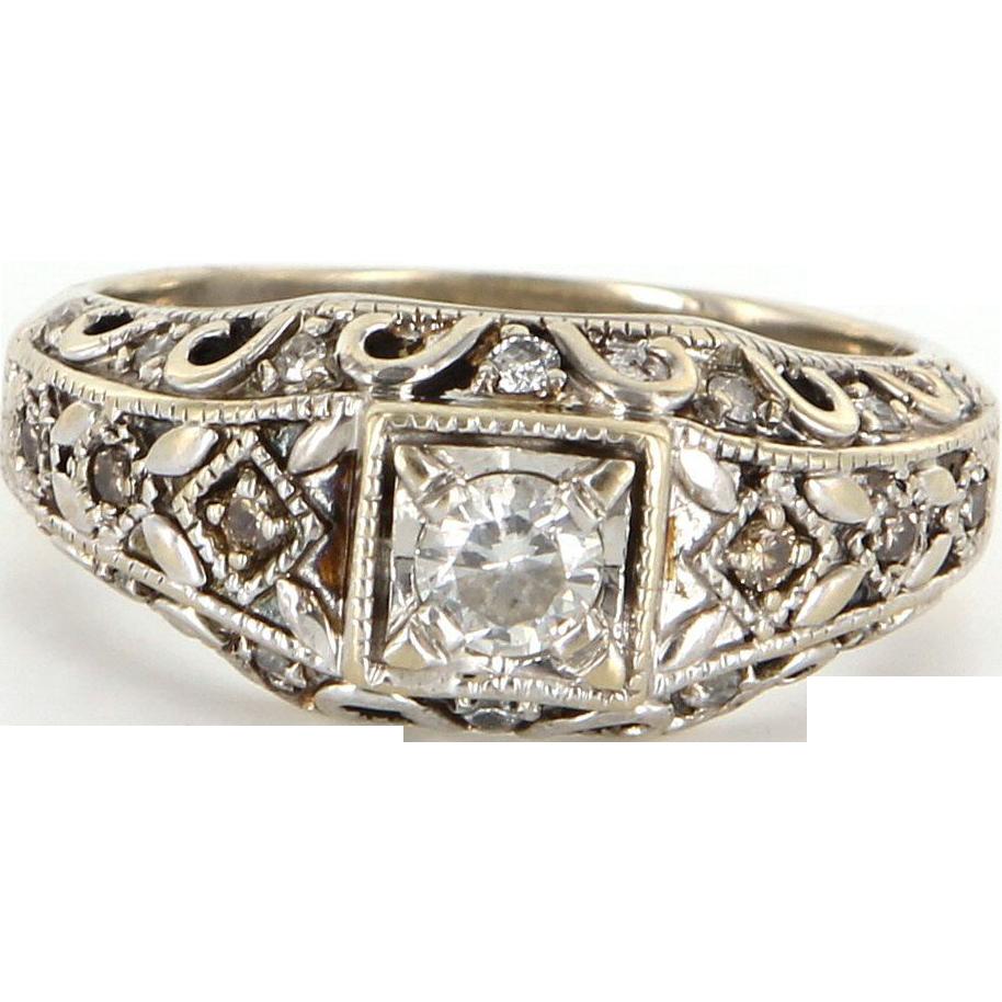Vintage 14 Karat White Gold Diamond Right Hand Ring Fine Estate Jewelry Sz 7