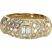 1.19ct Diamond Band Ring Vintage 18 Karat Yellow Gold Estate Fine Jewelry Heirloom