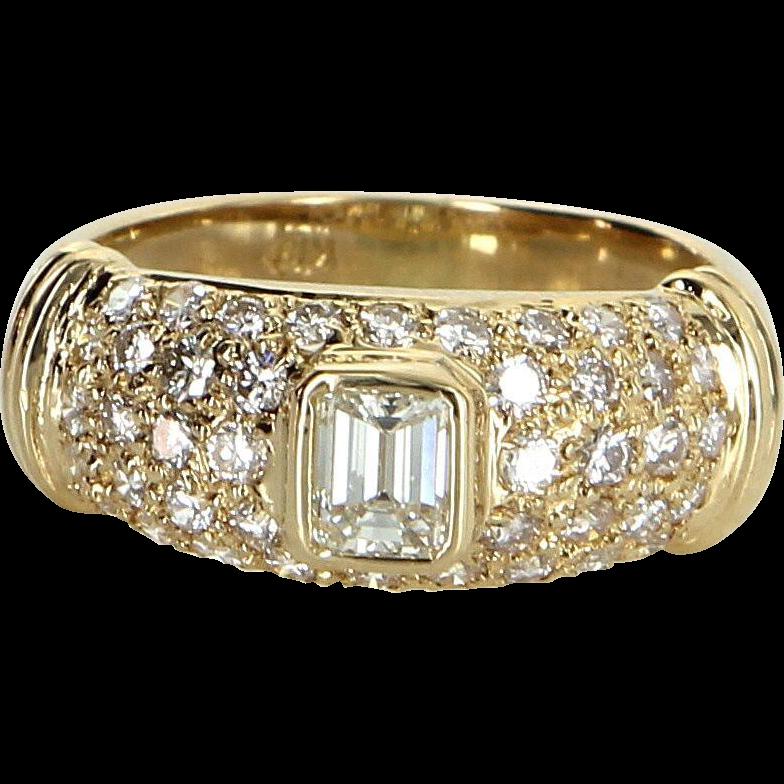 1.19ct Diamond Band Ring Vintage 18 Karat Yellow Gold Estate Fine Jewelry Heirloom