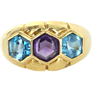 Amethyst Blue Topaz Vintage 18 Karat Gold Band Ring Estate Fine Jewelry Heirloom 6.5