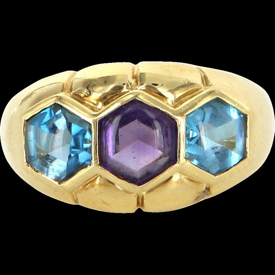 Amethyst Blue Topaz Vintage 18 Karat Gold Band Ring Estate Fine Jewelry Heirloom 6.5