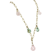 Rose Quartz Prasiolite Vintage 14 Karat Gold Drop Necklace Estate Fine Jewelry