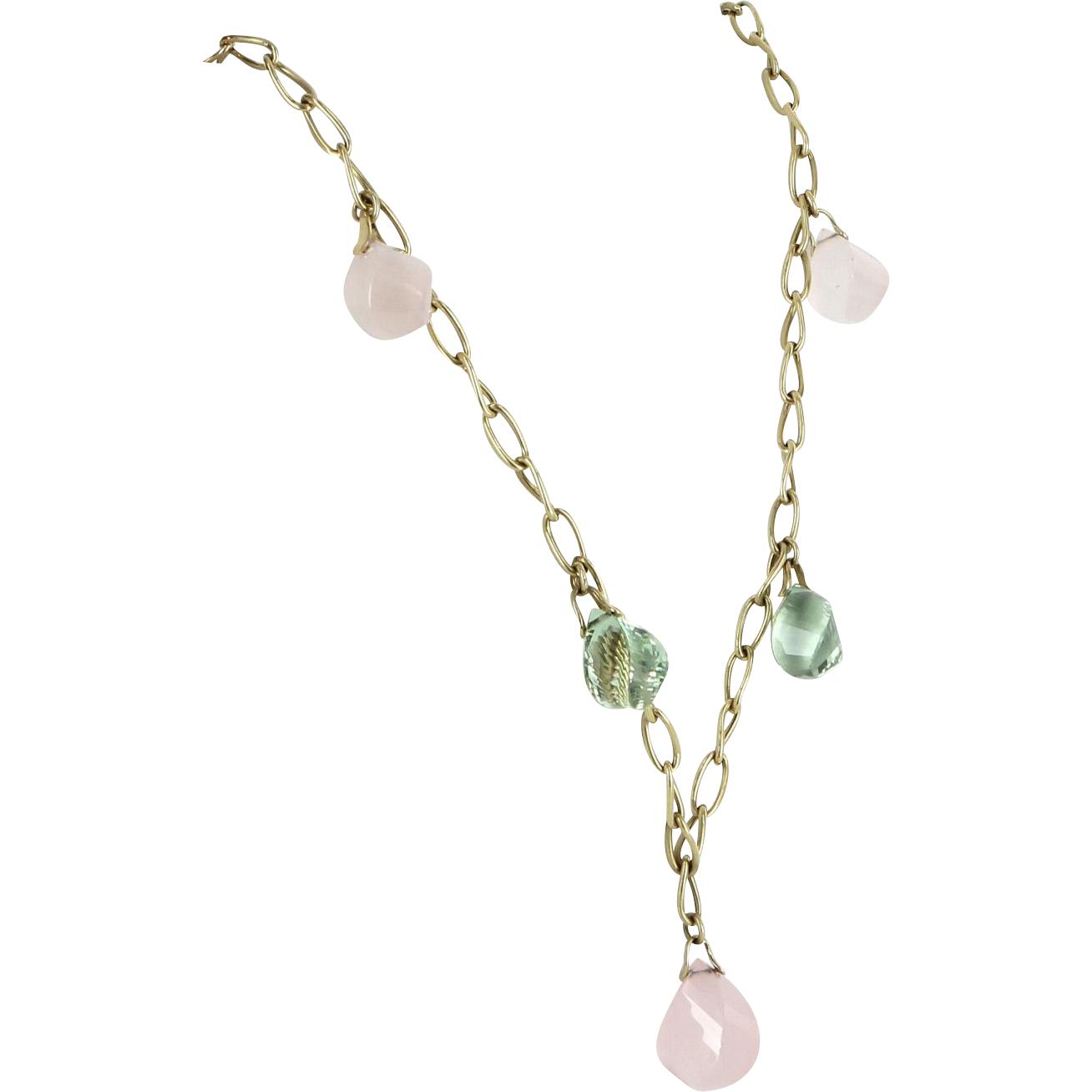 Rose Quartz Prasiolite Vintage 14 Karat Gold Drop Necklace Estate Fine Jewelry