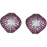 Pink Sapphire Diamond Cocktail Earrings Estate 18 Karat White Gold Vintage Jewelry