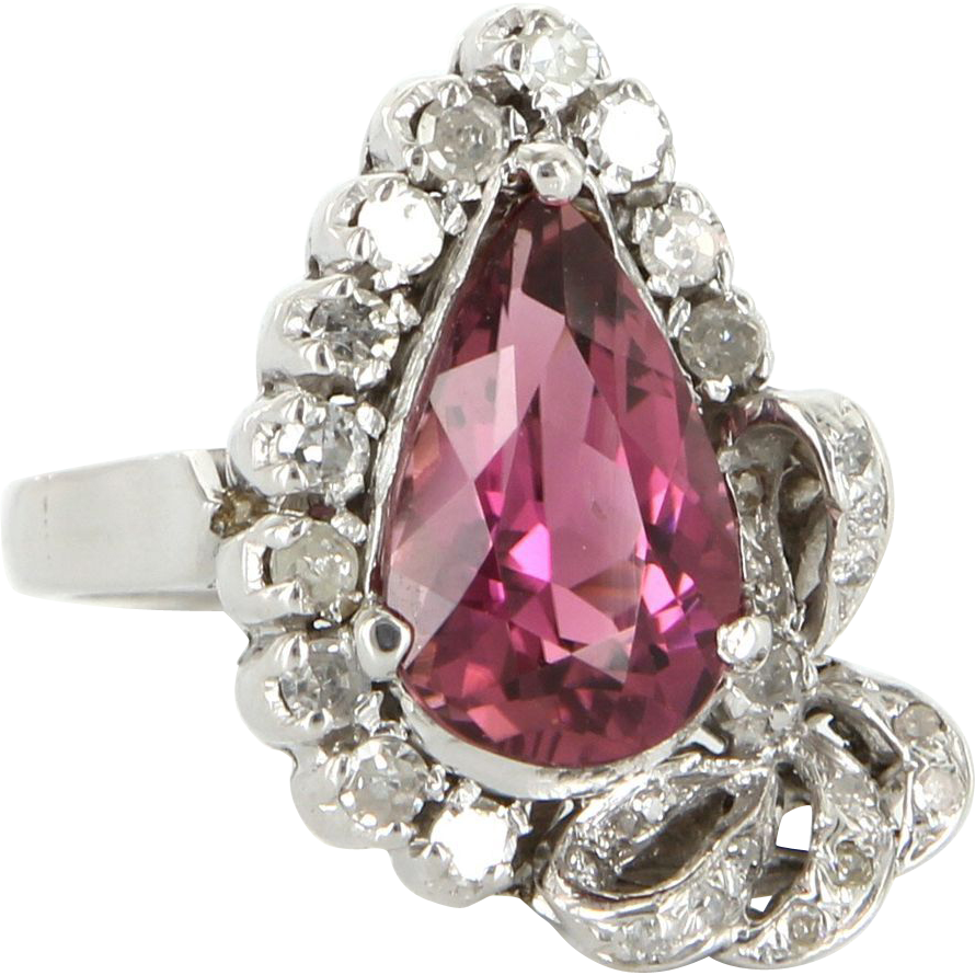 Vintage 18 Karat White Gold Diamond Pink Tourmaline Cocktail Ring Fine Jewelry