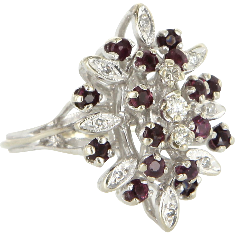Vintage 14 Karat White Gold Diamond Ruby Cocktail Ring Fine Estate Jewelry