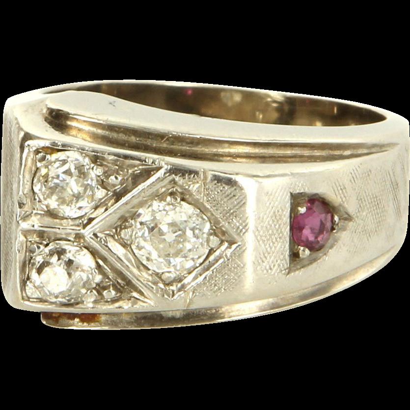 Vintage Retro 14 Karat White Gold Diamond Ruby Cocktail Ring Fine Estate Jewelry