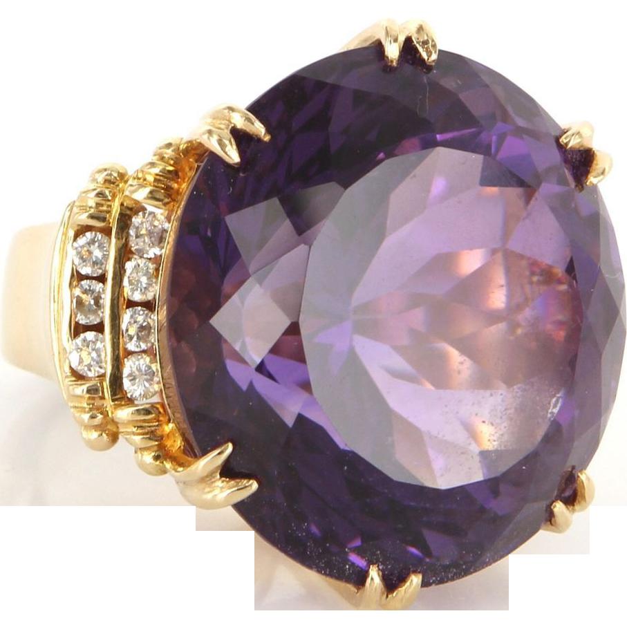 Vintage 14 karat yellow gold amethyst diamond large for 14 karats fine jewelry