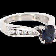 Vintage 14 Karat White Gold Sapphire Diamond Engagement Ring Fine Jewelry Estate Bridal Wedding