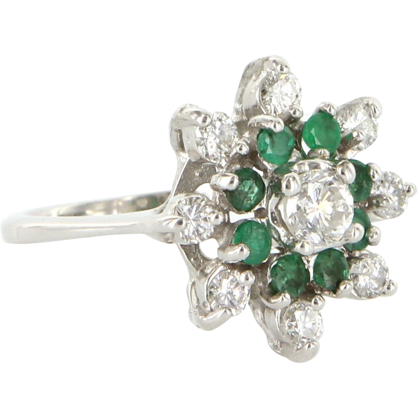Vintage 14 Karat White Gold Diamond Emerald Cluster Cocktail Ring Fine Jewelry