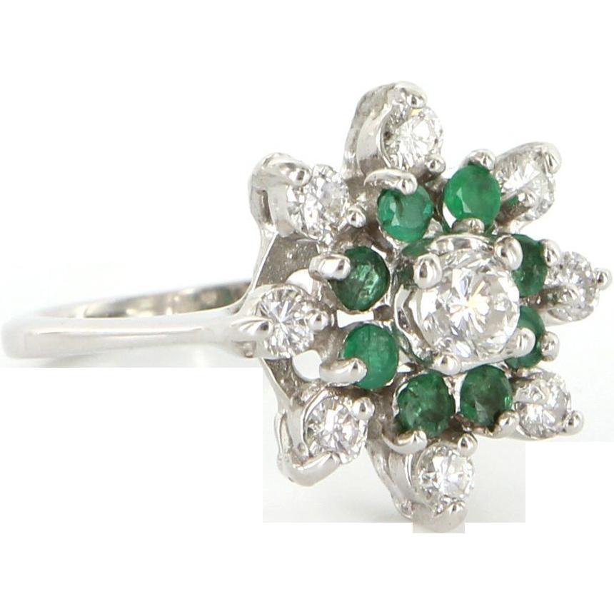 Vintage 14 karat white gold diamond emerald cluster for 14 karats fine jewelry