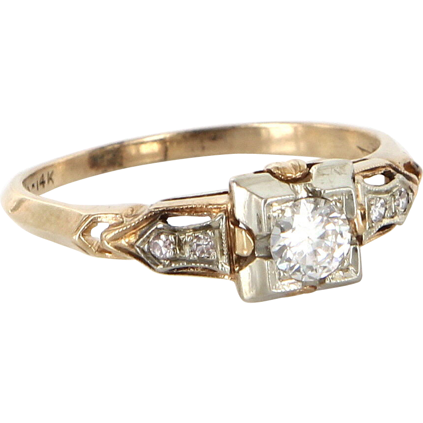 Art Deco 18-14 Karat Yellow White Gold Diamond Engagement Ring Sz 7