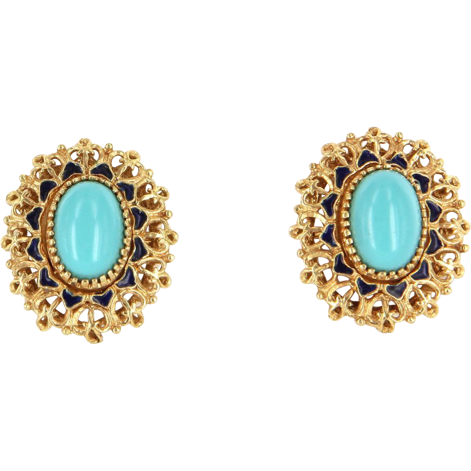 Vintage 18 Karat Yellow  Gold Persian Turquoise Blue Enamel Oval Cocktail Filigree Earrings