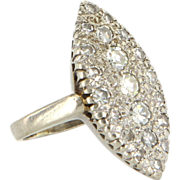 Vintage 14 Karat White Gold Diamond Marquise Navette Cocktail Ring Fine Jewelry
