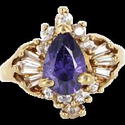 Vintage 14 Karat Yellow Gold Diamond Amethyst Cocktail Ring Estate Jewelry