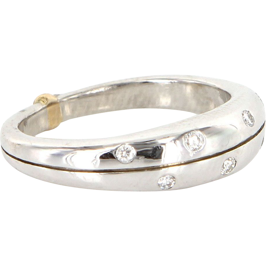 Estate 900 Platinum Sterling Silver 18 Karat Yellow Gold Diamond Stack Band Ring
