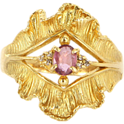 Vintage 18 Karat Yellow Gold Diamond Ruby Ribbon Cocktail Ring Estate Jewelry