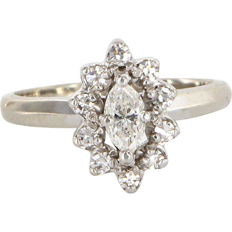 Vintage 14k White Gold Marquise Cut Diamond Engagement Right Hand Ring Estate