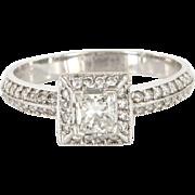 Vintage 14 Karat White Gold Diamond Square Engagement Ring Fine Estate Jewelry