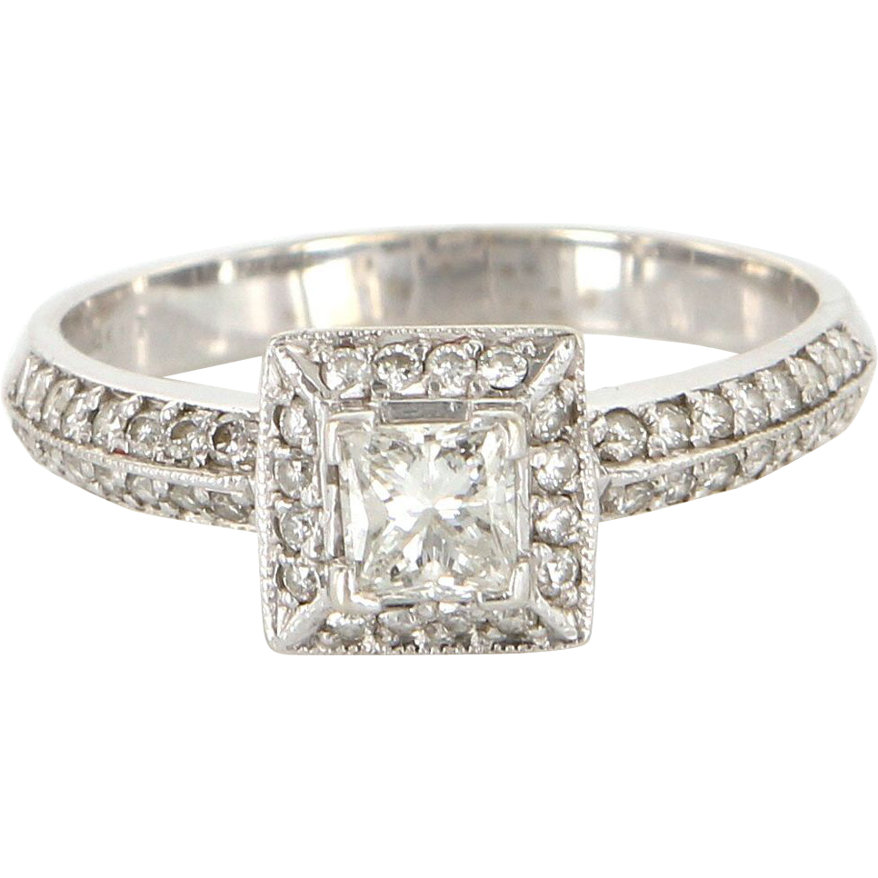 vintage 14 karat white gold diamond square engagement ring. Black Bedroom Furniture Sets. Home Design Ideas