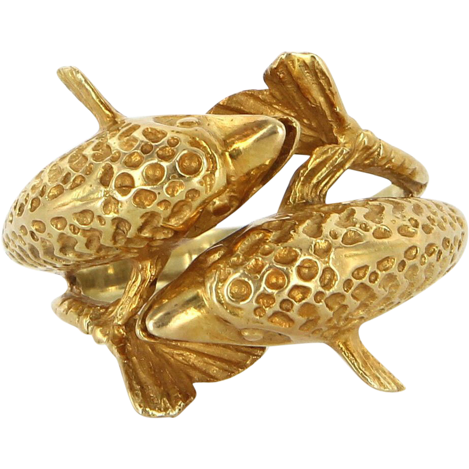 Vintage 14 Karat Yellow Gold Double Bypass Dolphin Ring Estate Marine Jewelry
