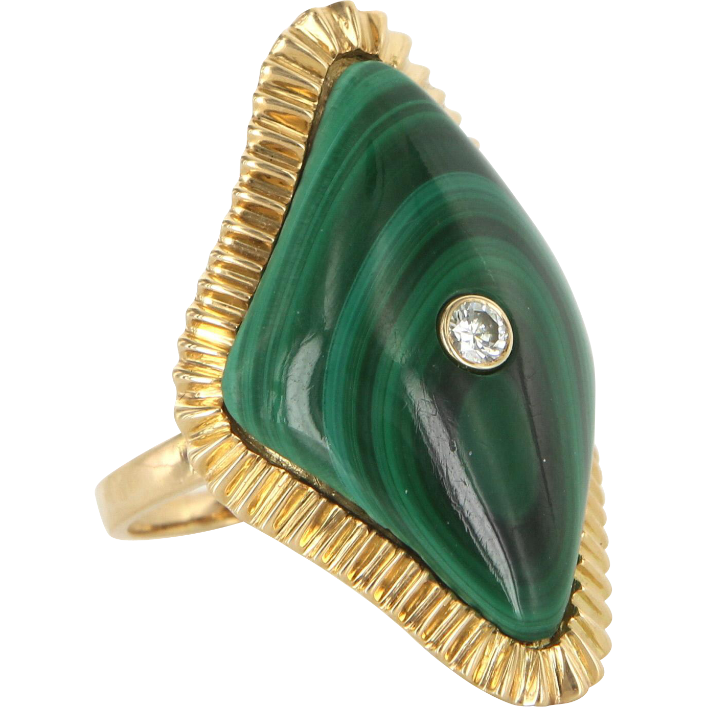 Malachite Diamond Large Cocktail Ring 14 Karat Yellow Gold Estate Fine Jewelry 7.5