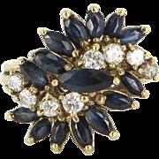 Vintage Sapphire Diamond Cluster Cocktail Ring 14 Karat Yellow Gold Estate Jewelry