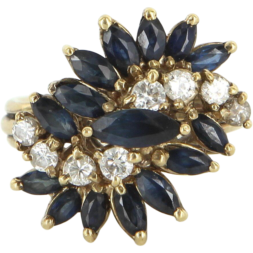 Vintage Sapphire Diamond Cluster Cocktail Ring 14 Karat Yellow Gold Estate Jewelry