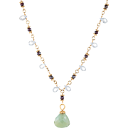 Gemstone Drop Necklace Vintage 22 Karat Yellow Gold Estate Fine Jewelry Pre Owned